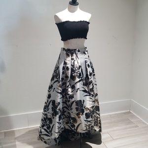 Eliza J high low metallic floral skirt sz. 6 gold
